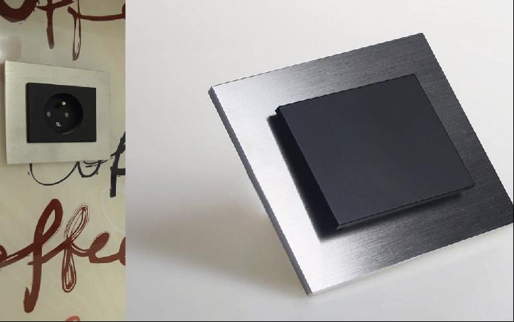 Interrupteur et prise design en acier brossé - ECOOME