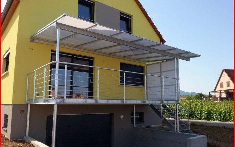 Terrasse sur pilotis avec auvent fixe et pare-vent - MÉTALLERIE SCHUHPAINT